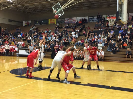 Pine View's Cody Ruesch attempts a free throw in the fourth quarter against Manti. The Panthers won 70-59 in the home opener.