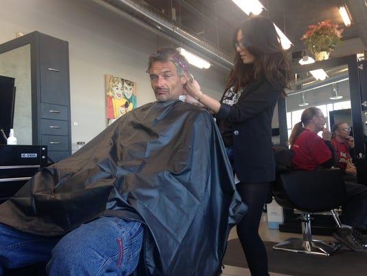 Homeless getting haircuts
