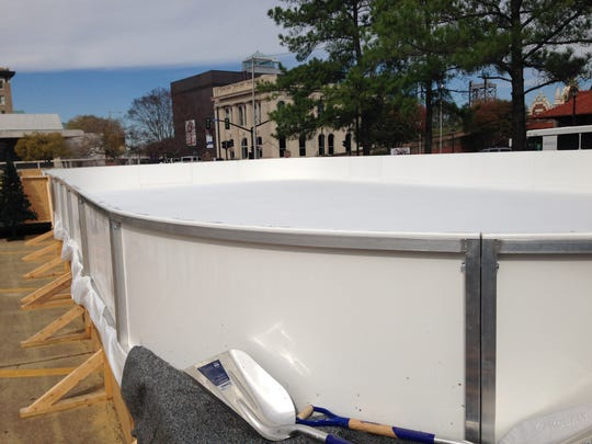 The already-frozen ice skating rink in the mini-park on Third Street in downtown Alexandria on Wednesday morning.