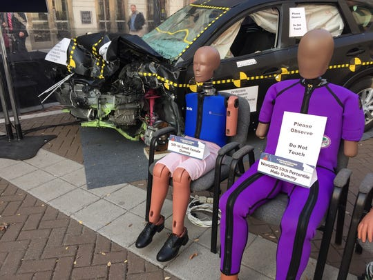 The new crash test dummies on display at the National