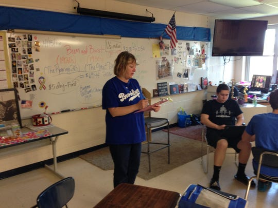 Sheryl Leaver teaches a class Friday at Memphis Junior/Senior High School. The school district is seeking a one-mill tax for a sinking fund.