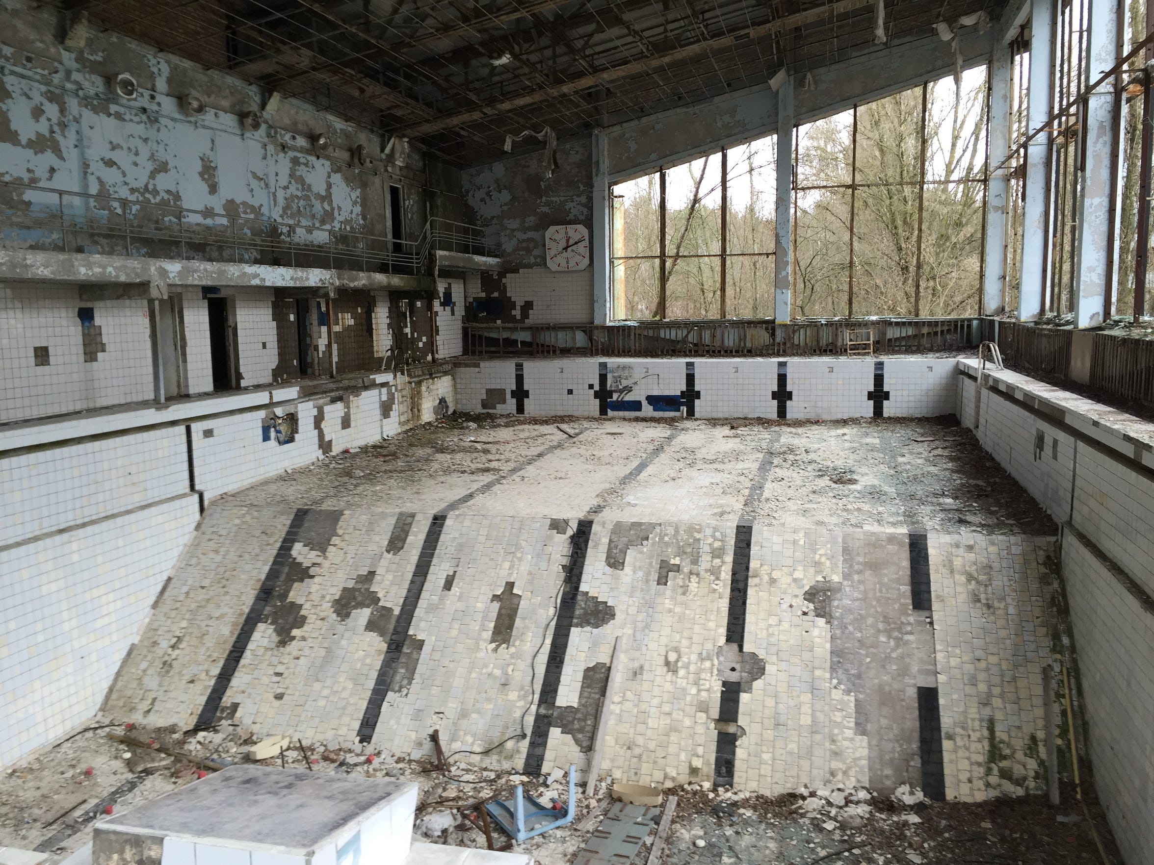 A swimming pool in Pripyat, Ukraine. More than a decade after the accident it was being used by workers involved with the Chernobyl cleanup operation despite the presence of radiation.