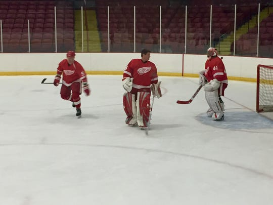 Red Wings alumni prepare to play a hockey game for charity in Fraser on Sunday, May, 15, 2016.