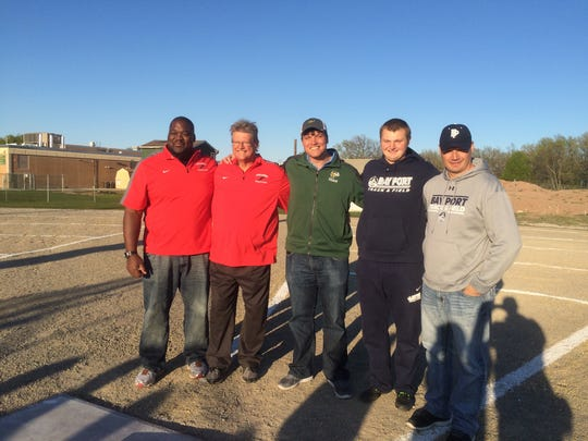 Five of the top 20 individuals on the state's all-time record list for the shot put were in attendance at the Fox River Classic Conference track and field championship on Tuesday in Ashwaubenon. From left, Kevin Barry (62 feet, 5 inches at Racine Park), Jeff Braun (63-1¼, Seymour), Steve Marcelle (68-¼, G.B. Preble), Cole Van Lanen (64-0, Bay Port) and Tom Van Lanen (62-8½, West De Pere).