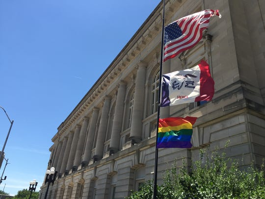 A rainbow flag was raised at the Des Moines City Hall