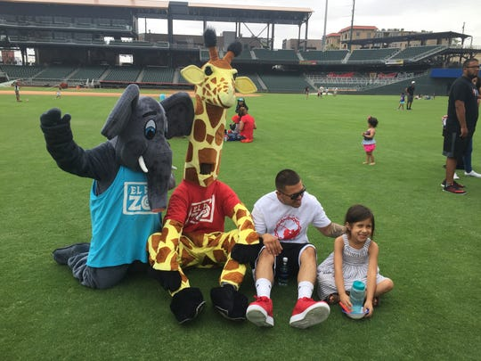 The El Paso Zoo mascots visited with families at the El Paso Chihuahuas Play Day at the Park on June 28.