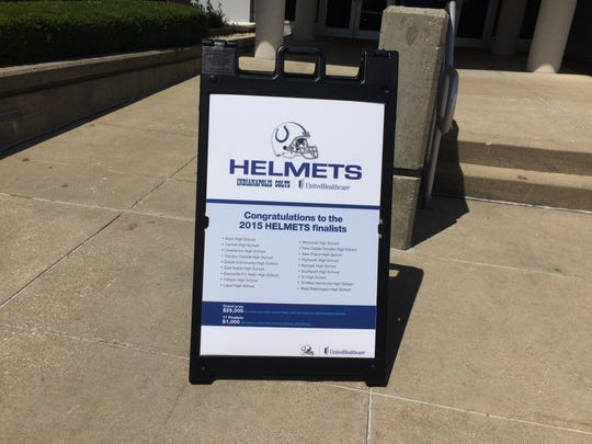The Colts teamed up with Unitedhealthcare and USA Football to promote player safety Thursday, June 30, 2016, as part of their HELMETs sweepstakes.
