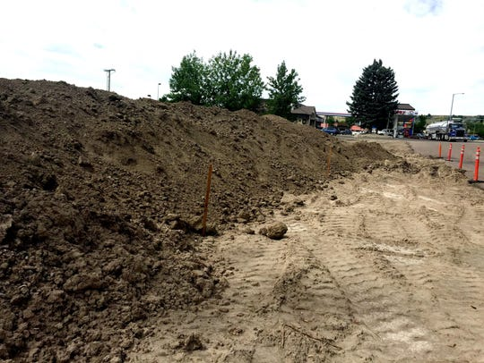 Construction workers have moved dirt to Town Pump's