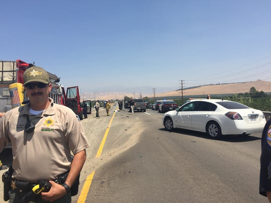 Police and fire respond to a crash on Highway 198 and