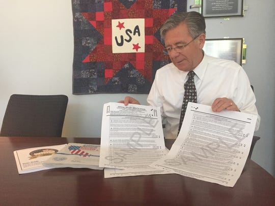 Claudio Valenzuela Monterey County's Registrar of Voters shows the increase in ballot cards for the Nov. 8 election.