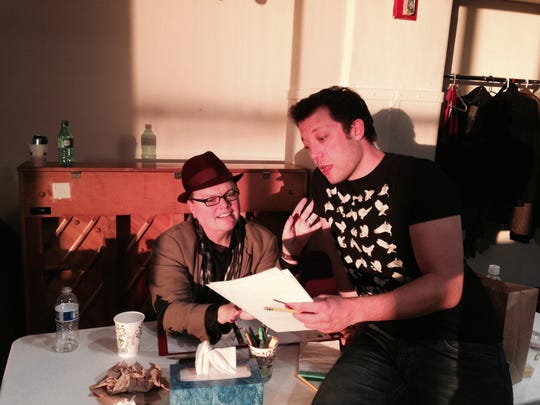 """David Saint (left) and John Tartaglia during rehearsal for """"Buyer and Cellar,"""" which was performed at George Street Playhouse in 2015."""