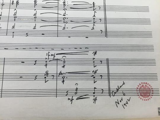 """Aaron Copland dated his """"Fanfare for the Common Man"""" on the final page of his manuscript, from the Aaron Copland Collection, Music Division, Library of Congress."""