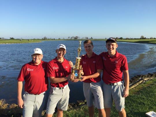 Salisbury Christian's golf team: from left to right Trace Theofiles, Davey King, Ryan Hannigan, and David Farace
