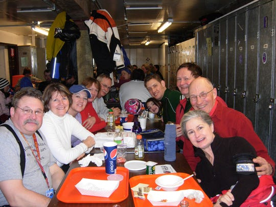 Members of the Peak Performance ski group at Showdown even had fun at lunch  a few years ago.