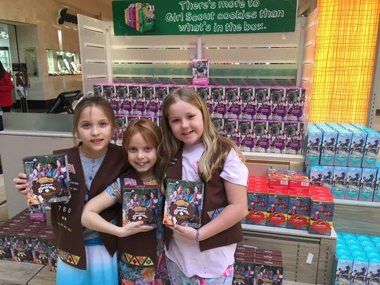 These local Girl Scouts have the goods, namely S'mores Girl Scout cookies, in short supply nationwide. Working Friday at Christiana Mall are members of Girl Scouts of the Chesapeake Bay Troop 780, out of Smyrna, Audrey Lawrence (from left), Kylie Williams and Maddie Snow.