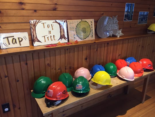 Hardhats for a field trip to see a tree cut down during