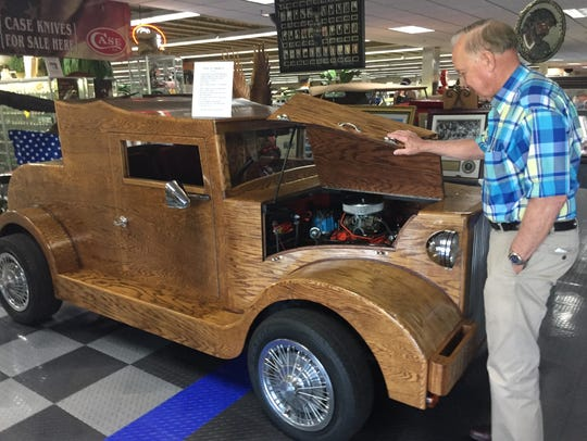 A 1931 Ford, whose body is built entirely out of wood,