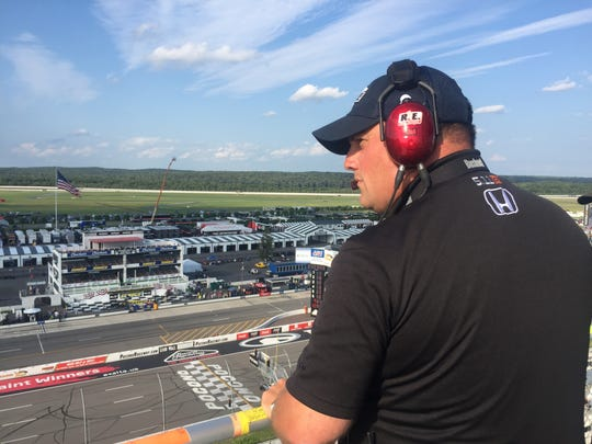 Jason Reiner, spotter for Chip Ganassi Racing driver Max Chilton, watches practices unfold Saturday, Aug. 19, at Pocono Raceway.
