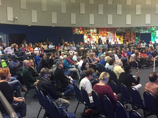 A crowd of more than 300 people who attended a town hall meeting with elected officials in Southfield Saturday morning.