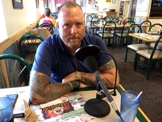 Jason Czora stops for lunch (and a podcast interview) at Rodell's Smokehouse in downtown Winterset, Iowa, on Monday, Aug. 28, 2017.
