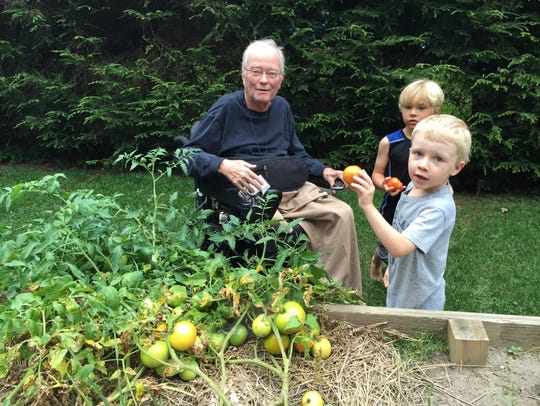 Roger Hartman picks tomatoes with with grandsons George