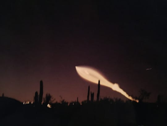 A view of the SpaceX rocket launch captured around