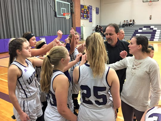 The Athens girls basketball team gets ready for the start of the fourth quarter against Jackson Christian on Friday.