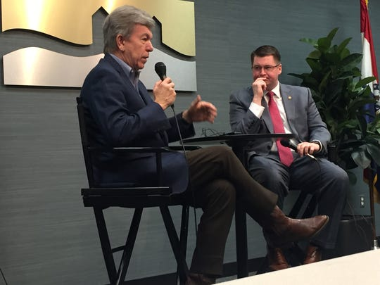 Sen. Roy Blunt, R-Missouri, answers a question from Springfield-Area Chamber of Commerce President and CEO Matt Morrow on Monday, March 26, 2018, at a chamber-led speaking series.