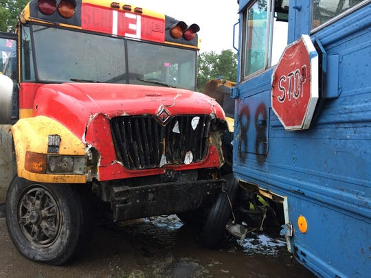 The Springfield Do It Center bus and the Heights Construction bus saw their figure-eight race ended after colliding two laps in at Galesburg Speedway on Sunday, June 3, 2018.