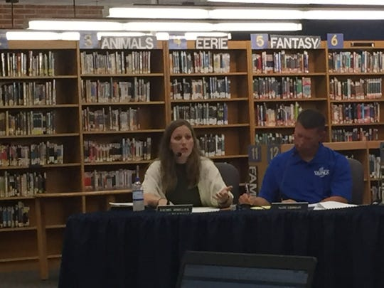 Northern Lebanon School District board member Rachel Sekellick discussing cyberbullying during a board meeting June 12, 2018. Also pictured, board member Nathan Erdman.
