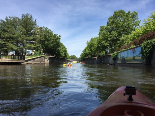 A view of the Battle Creek River from the kayak of