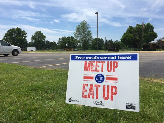 A Meet Up and Eat Up sign at Riverside Elementary.