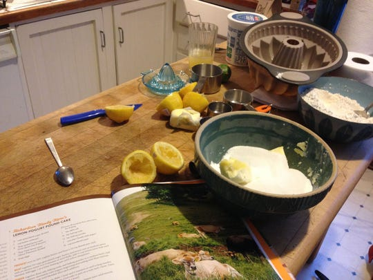"""Ingredients for lemon-yogurt pound cake laid out on the table. The recipe appears in """"The Cabot Creamery Cookbook"""" and was contributed by farmer Amy Richardson of Hartland. The Richardsons milk Jersey cows on the farm that has been in their family 110 years."""
