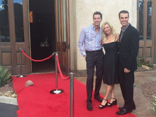 Vicky's of Santa Fe owner Marc Laliberte, event sponsor Charissa Farley and restaurant general manager Marc Lodovico at the Red Carpet Oscar Party benefiting Variety, the Children's Charity of the Desert in 2015.