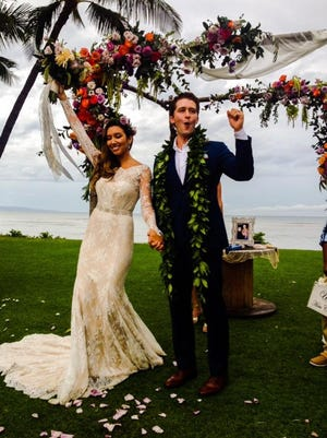 Matthew Morrison and wife Renee at their wedding.