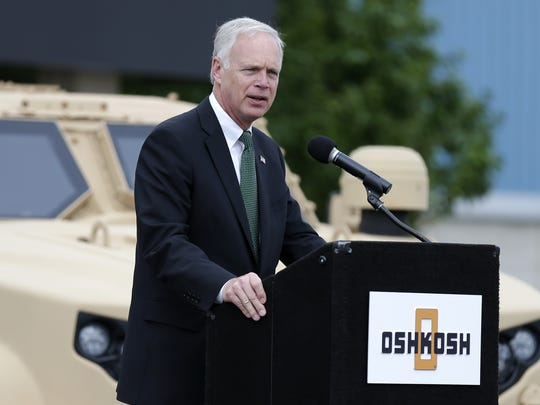 Senator Ron Johnson speaks during a press conference to announce that the United States' Army has awarded Oshkosh Defense a $6.7 billion contract to build the Humvee's replacement, Oshkosh Corp's Joint Light Tactical Vehicle, or JLTV.