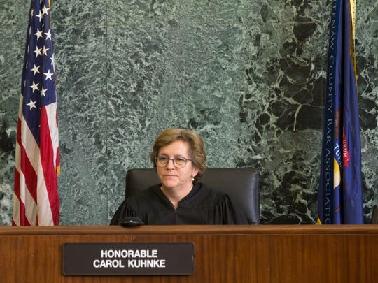 Judge Carol Kuhnke presides over the case against Kevin Beverly on Monday, April 2, 2018, at Washtenaw Country Trial Court in Ann Arbor.