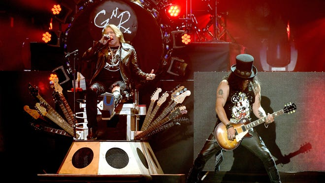Axl Rose and Slash of Guns N' Roses at the 2016 Coachella fest on April 16.
