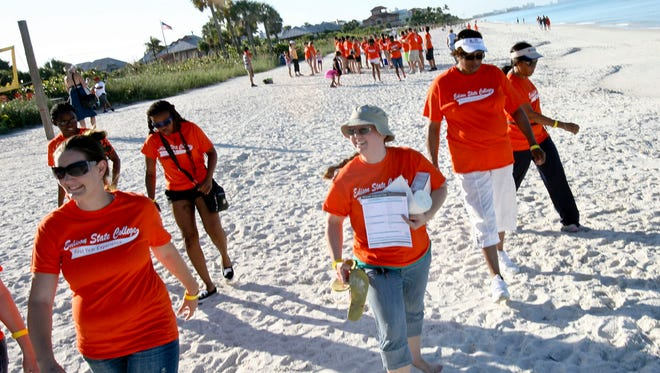 More than 50 people from the Lee and Collier County campuses of Edison State College participated in the Coastal Cleanup in 2013 at Bonita Beach.