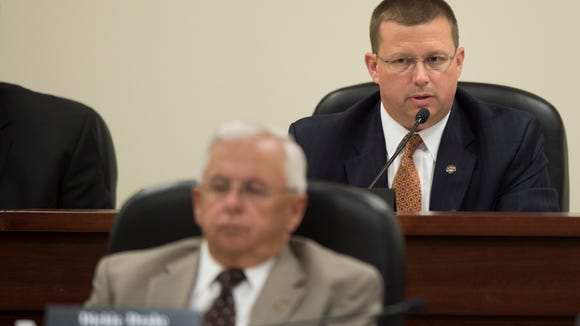 House Judiciary Committee chair Mike Jones speaks during a committee meeting on the investigation into the possible impeachment of Governor Robert Bentley on Tuesday, Sept. 27, 2016, in Montgomery, Ala.