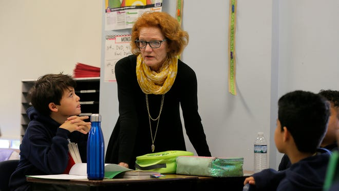 Meredith Pennotti, principal at Red Bank Charter School speaks to 4th grade students in their classroom at Red Bank Charter School in Red Bank, NJ Tuesday, October 11, 2016.