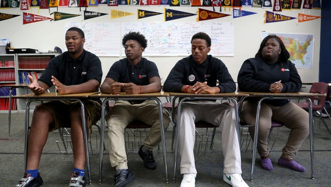 (L to R) Jordan Davis, 17, Tanell McCalebb, 17, Ervin Butler, 17, and Rhianna Woolfolk, 16, and all seniors at Michigan Collegiate High School in Warren, Michigan on Thursday, September 15, 2016 talked to the Detroit Free Press about how they've seen and handled violence growing up in Detroit.