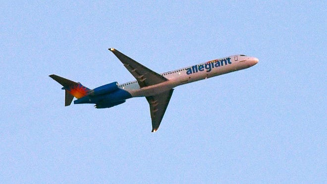 An Allegiant flight leaves the St. Cloud Regional Airport.