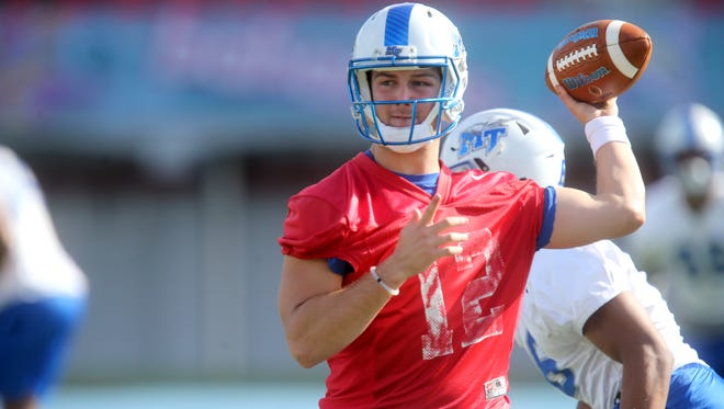 MTSU quarterback Brent Stockstill during practice at the stadium where the Bahamas Bowl will take place, Thomas A. Robinson National Stadium, in the Bahamas on Tuesday, Dec. 22 2015.
