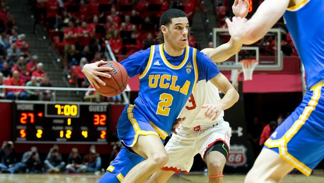 UCLA's Lonzo Ball (2) drives to the basket during the first half against Utah.