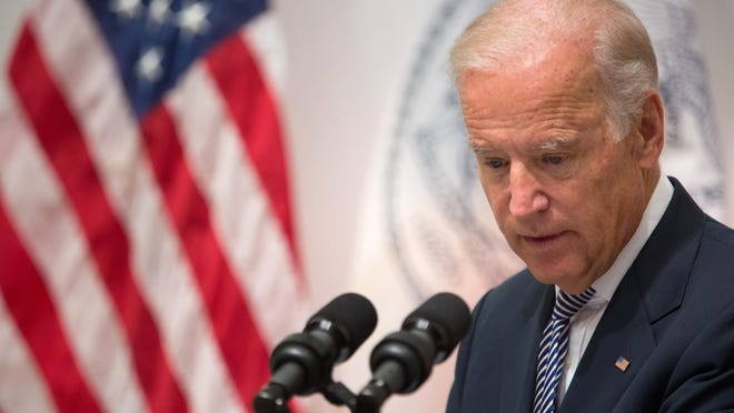 Vice President Joe Biden speaks during a news conference at the Office of the Chief Medical Examiner, Thursday, Sept. 10, 2015, in New York.