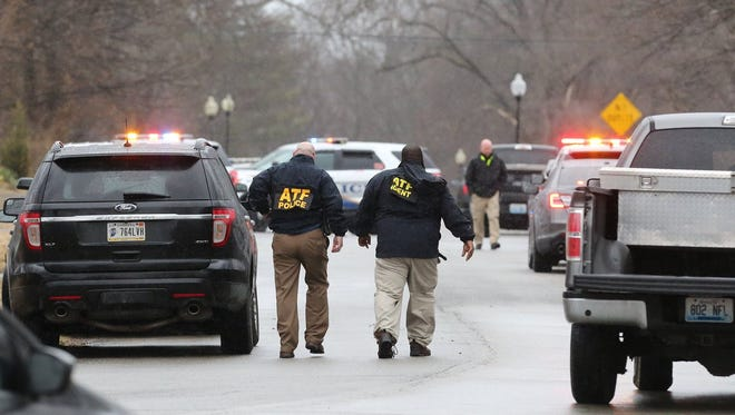 The scene of a shooting that occurred Thursday afternoon in Buechel. Multiple people, including a police officer, were shot, and one person was reportedly killed. Feb. 1, 2018