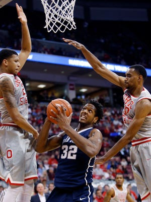 Penn State's Jordan Dickerson, center, returns to Madison Square Garden on Saturday for the first time since playing a  high school basketball championship game in 2011.