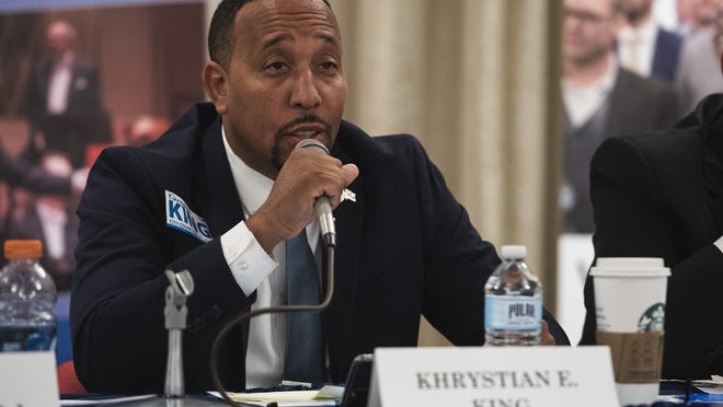 Worcester City Councilor Khrystian King, pictured at a candidates debate at Mechanics Hall in October, sought reconsideration of the city budget, but only two other councilors signed on.