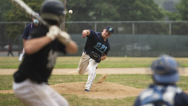 Double Play's Sam Stencel delivers a pitch during a Paul N. Johnson Senior Babe Ruth baseball game against Tatnuck on Saturday at Tivnan Field. Double Play stopped Tatnuck's 16-game winning streak with a 12-0 victory.
